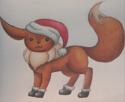 Santa Eevee by smokecloud2743