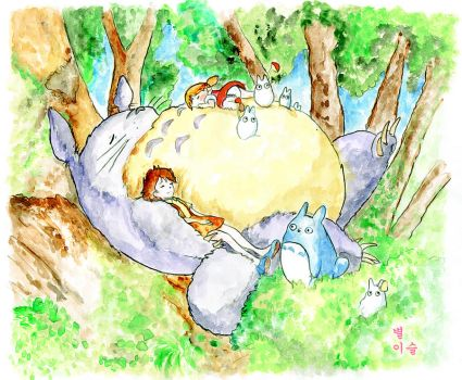 Sleeping  Totoro by StarsDew