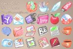 watercolor dock icons by LilOrangeDragoness
