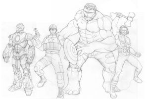 Ultimate Avengers sketch by khazen