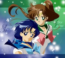 Sailor Mercury and Jupiter by Feiuccia