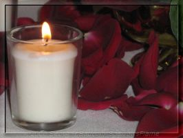 Candle and Rosepetals by SparrowsFlame