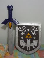 Master sword and hero's shield by miki-dia2199