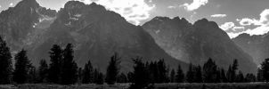 Grand Tetons Pano #4 BW by KRHPhotography