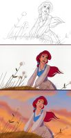 Ariel debuts as Belle Digital Coloring Process by deepessence82