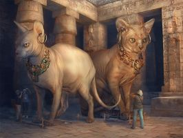 Bastet and Sekhmet Museum by Incantata