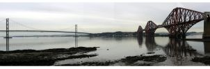 Forth Bridges Panoramic by sicklittlemonkey