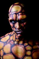 The Thing bodypainted fantastic 4 stare facepaint by Bodypaintingbycatdot