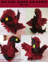 Black Rose Dragon Plushie by broken-with-roses