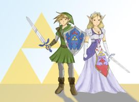 Link and Zelda Drawing by Videoboysayscube