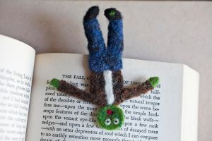 Needle Felted Squished Zombie Bookmark by themaniacalmenagerie