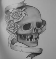 Skull with roses and banner by stef-g
