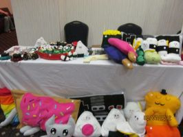 Plushie Table at Anime Overload 4 by Knoxois