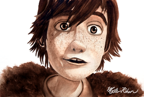 Hiccup ValentineDay Watercolor by masterrohan