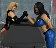 Lin vs Ms Marvel Arm-Wrestling by hotrod5