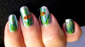 Goldfish in Reeds Nail Art by MayEbony