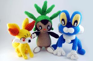 Fennekin, Chespin, and Froakie by craftyhanako