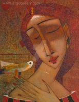 Peter Mitchev - Dreaming with a bird by Art-Gallery-Largo