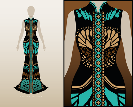 Dresses with Turquois Pattern - Moths by Dana-Ulama