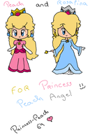 FOR PrincessPeachAngel : PEACH AND ROSALINA by Princess-Peach-64