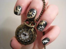 Steampunk nails by AStudyInPolish