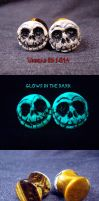 Jack Skellington 9-16 Gauges by Undead Ed Glows in by Undead-Art