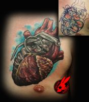 Heart Grenade Cover Up Tattoo by Jackie Rabbit by jackierabbit12