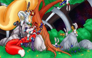 Penny n' Lynda vs. The Battle Bunnies from Space A by RoboGoGoRobo