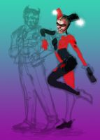Harley and The Joker wip. by Casimira