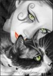 Gothic girl kitty ACEO COMMISSION by Katerina-Art