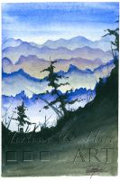 Nature Scene 1 - Watercolor and India Ink by indigowarrior