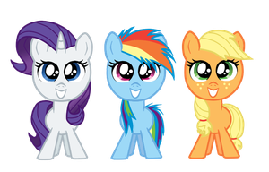 Rarity, Dash, and Applejack by ForeverIncompetent