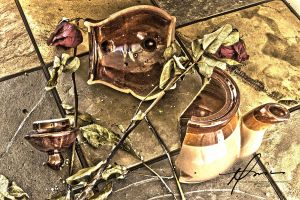 Broken Pot and Roses by kings-ransom
