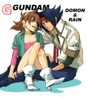 G GUNDAM DOMON and RAIN by taka0801