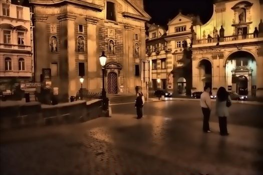 The Square at Night - Prague by lightzone