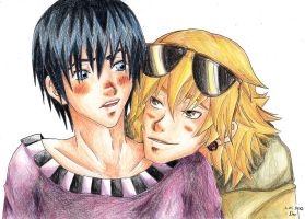 Artur and Hima with crayons by Neo-N