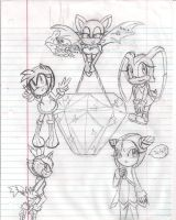 Sonic Girls drawings by LilacPhoenix