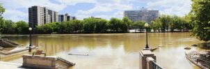 Riverwalk 3 Pic Pano - Red River Winnipeg by Joe-Lynn-Design