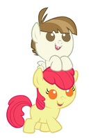 Featherweight and Applebloom as babies by 3D4D