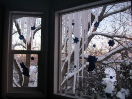 Winter Scenes - Icicles in the Windows by Qrinta