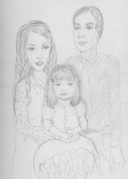 Older drawing of a family by ponderosalove