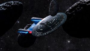 Enterprise D threading the needle by Robby-Robert