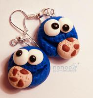 Cookie Monster earrings by Noncsi28