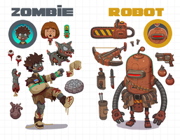 Zombies vs Robots by Nerd-Scribbles