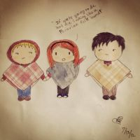 Amy Pond and her poncho boys by rebeltreble