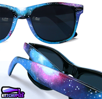 Galaxy nebula handpainted Sunglasses by Ketchupize