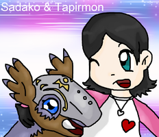 P.Commission / Sadako and Tapirmon Best Partners by tinttiyo