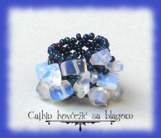 Blue iris opalite ring by Cayca