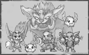 Yordles Doodle - 1 by MadGreenBunny