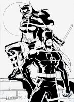 Daredevil and Huntress Inks by wardogs101